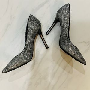 Guess Silver Glitter Pointed Toe Heel Pump
